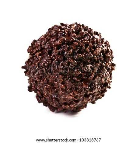 chocolate truffle on white background - stock photo