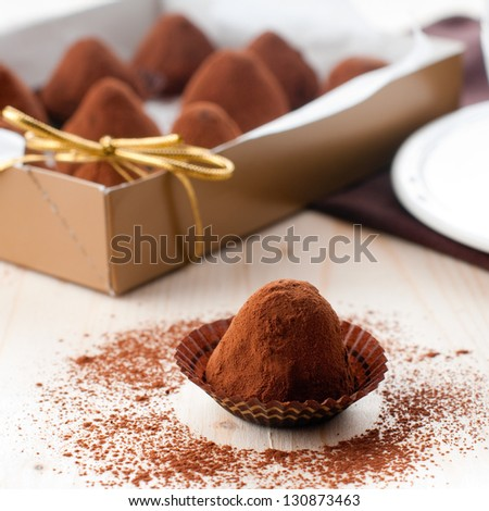 chocolate truffle, square image - stock photo