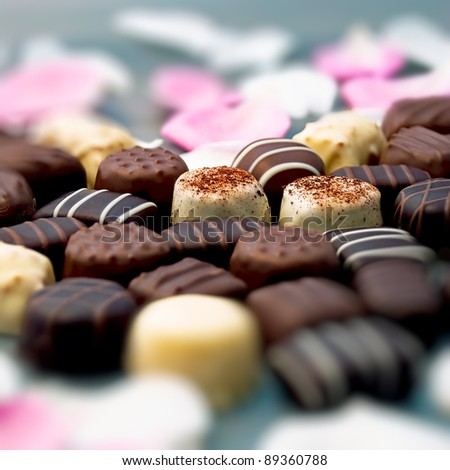Chocolate truffles and rose petals - stock photo