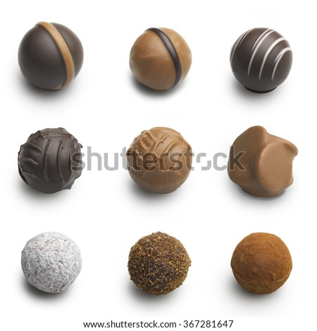 chocolate truffles assortment isolated on white  - stock photo