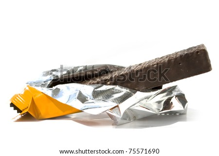 chocolate wafer close up isolated on white background - stock photo