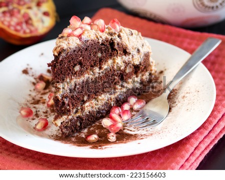 Chocolate, walnut and Prune Cake decorated with pomegranate seeds - stock photo