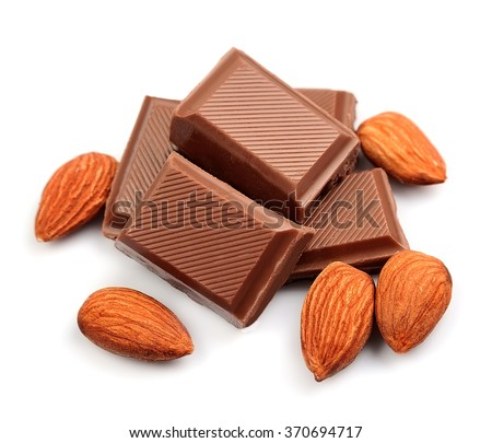 Chocolate with almonds closeup on white background . - stock photo