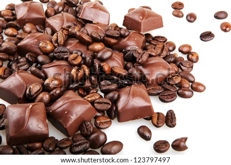 chocolate with coffee on white background - stock photo