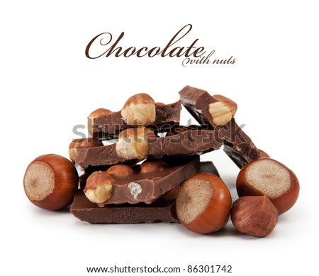 Chocolate with nuts is isolated on a white background - stock photo