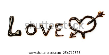 """Chocolate word """"love"""" isolated on white - stock photo"""