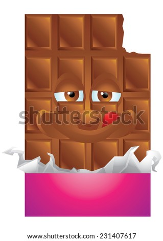 Chocolate wrapping cartoon character smiling isolated - stock photo