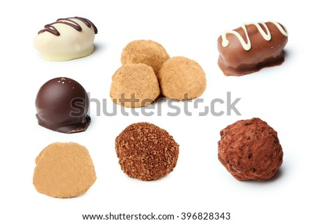 Chocolates isolated on a white, collage - stock photo