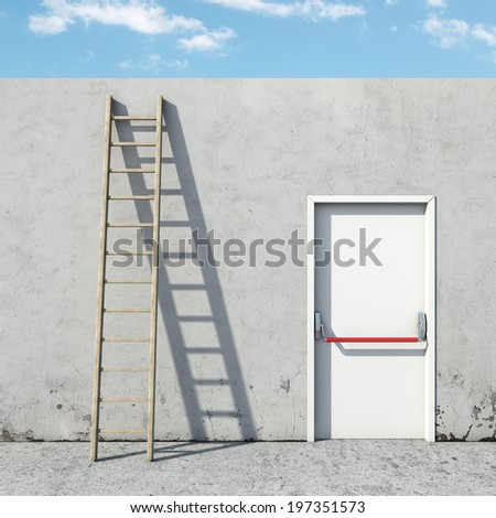 choice between the door and ladder - stock photo