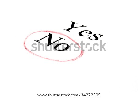 choice between yes or no isolated on white background - stock photo