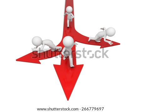 choice/3d people on directional signs. 3d image. Isolated white background - stock photo