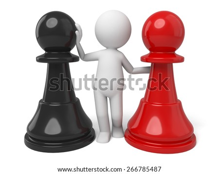 choice/3d people with a piece. 3d image. Isolated white background. - stock photo
