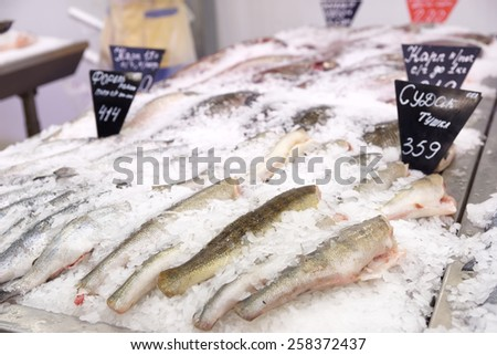 Choice of fish on a market display, no trademarks - stock photo
