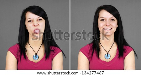 Choice of portrait of a young woman pulling tongue or happy. - stock photo