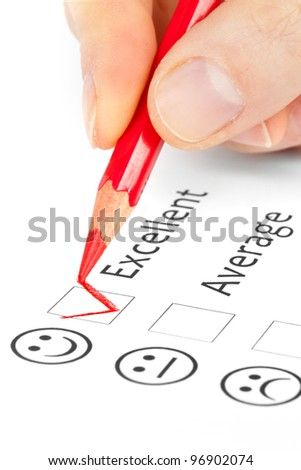 choice questionnaire checkbox on customer service satisfaction survey form - stock photo