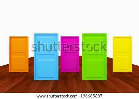 Choice with multi color door on wood floor - stock photo