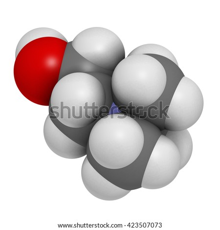 Choline essential nutrient molecule. 3D rendering.   Atoms are represented as spheres with conventional color coding: hydrogen (white), carbon (grey), oxygen (red), nitrogen (blue).