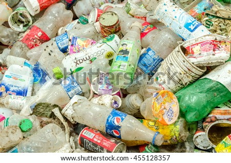 CHONBURI PROVINCE, THAILAND-JULY 11: Picture blurred of plastic bottles waste from household.  Recycle center at Chonburi Province on JULY 11 , 2016 in CHONBURI PROVINCE THAILAND - stock photo