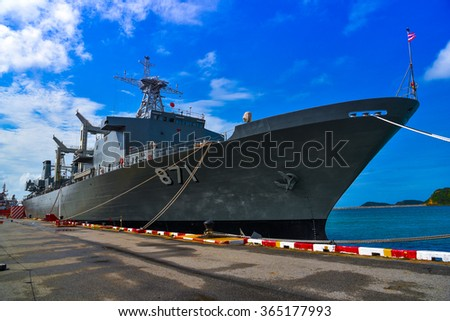 Chonburi, Thailand - January 17, 2016: USS FAST, FF combat vehicles were presented to the Thailand and attractions. Visit the Sattahip Naval Base Chonburi Province - stock photo