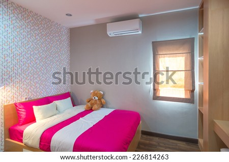CHONBURI, THAILAND - JUNE 29 : Interior bedroom of the Living hill sriracha-bowin, is located at sriracha-bow on June 29,2014, chonburi province, Thailand - stock photo