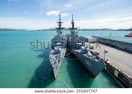 CHONBURI, THAILAND - JUNE 20 : The FAST FRIGATE ,FF battle ship was shown for Thai people and tourist to visit at Sattahip Naval Base on JUNE 20, 2015 in Chonburi, Thailand . - stock photo