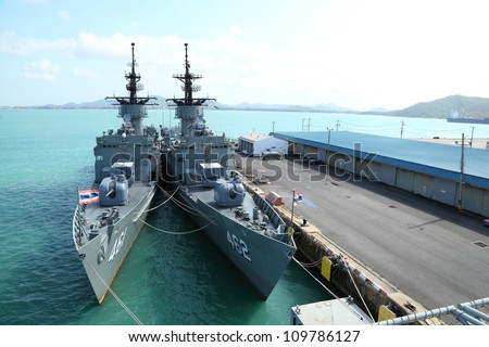 CHONBURI, THAILAND - MAY 7: The FAST FRIGATE ,FF battle ship was shown for Thai people and tourist to visit at Sattahip Naval Base  on May 7,2012 in Chonburi, Thailand . - stock photo