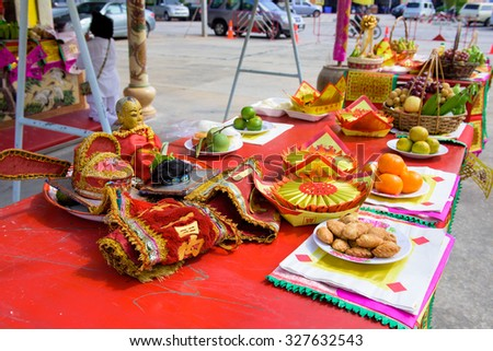 CHONBURI, THAILAND - OCTOBER 15, 2015: The special offerings to god in vegetarian festival in Chonburi, Thaialand. - stock photo