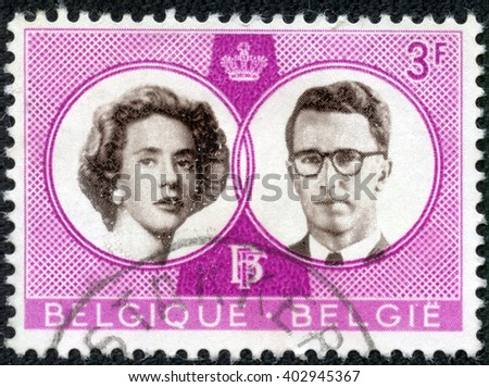 CHONGQING, CHINA - April 16, 2014:a stamp printed By Belgium shows King Baudouin and Queen Fabiola, circa 1960 - stock photo