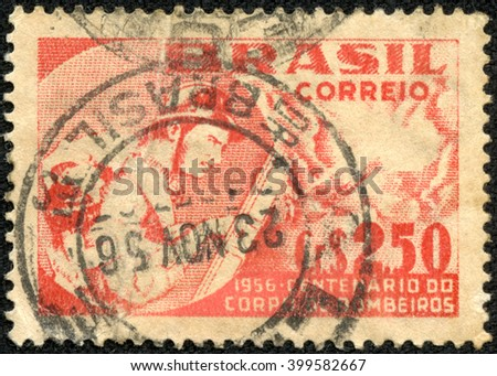 CHONGQING, CHINA - April  13, 2014:a stamp printed by Brazil, shows fireman, circa 1956 - stock photo