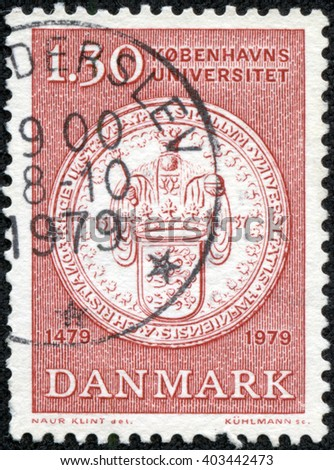 CHONGQING, CHINA - April 24, 2014: a stamp printed in Denmark shows University Seal, 500th Anniversary of the University of Copenhagen, circa 1979 - stock photo