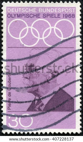 "CHONGQING, CHINA - April 20, 2014:A stamp printed in Germany from the ""Olympic Games (1972) Promotion Fund (1st series)"" issue shows Pierre de Coubertin (founder of Olympics), circa 1968. - stock photo"