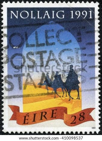 CHONGQING, CHINA - April 25, 2014: A stamp printed in Ireland shows Wise Men and Star, Christmas, circa 1991 - stock photo