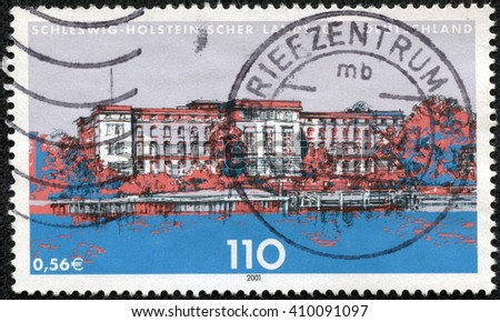 CHONGQING, CHINA - April 28, 2014:a stamp printed in the Germany shows State Parliament of Schleswig-Holstein, Kiel, circa 2001 - stock photo