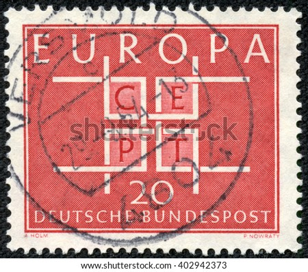 CHONGQING, CHINA - April 17, 2014:stamp printed by Germany, shows Europe CEPT emblem, circa 1968 - stock photo