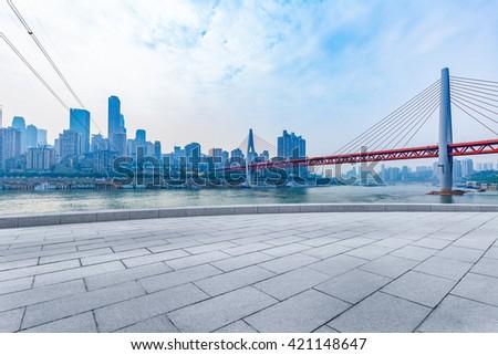 chongqing cityscape,yangtze river bridge - stock photo