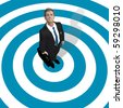 Choose a business man standing in the center of blue concentric circles view from above. - stock photo