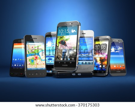 Choose mobile phone. Row of the different smartphones on blue background. 3d - stock photo