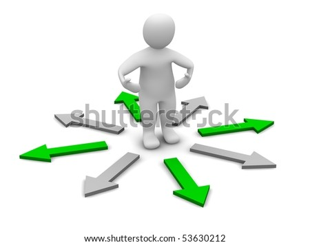 Choose of right direction. 3d rendered illustration. - stock photo