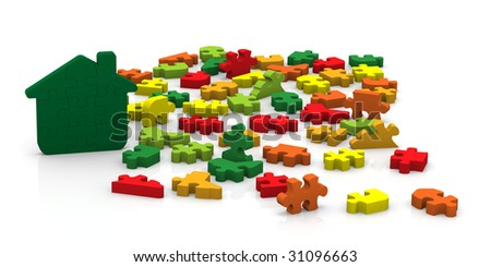 Choose the right puzzle pieces to create a high performance energy building - stock photo