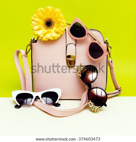 Choose your Sunglasses. Your style in seasons. Women's Fashion Accessories. - stock photo
