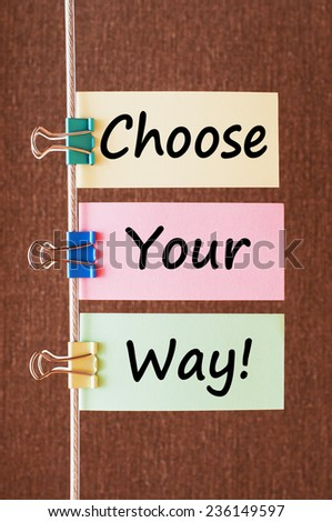 Choose your way! written on colorful note papers - stock photo
