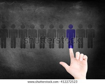 Choosing a person as a concept - stock photo