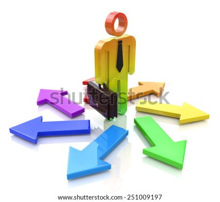 Choosing a Way. 3d people - man, person and arrows. Direction sign - stock photo