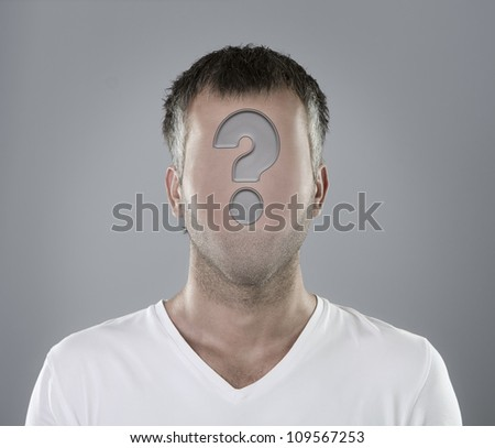 Choosing an employee concept, faceless person portrait with question mark - stock photo