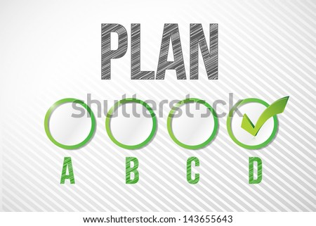 choosing plan d illustration design over a white paper background - stock photo