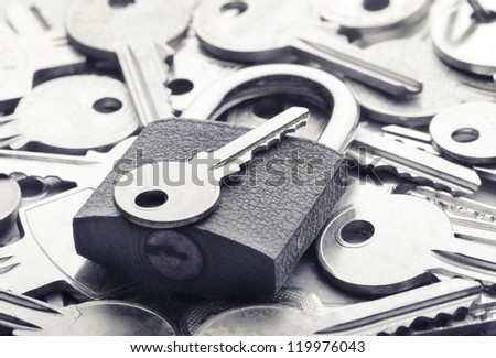 Choosing the right key for solving a problem - stock photo