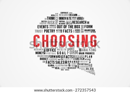 CHOOSING word on speech bubble with white background color - stock photo