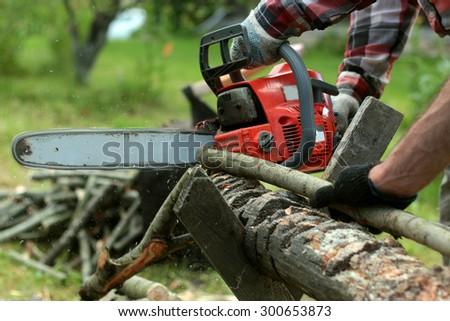 chop wood Chainsaw - stock photo