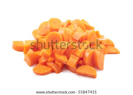 Chopped and sliced carrot - stock photo