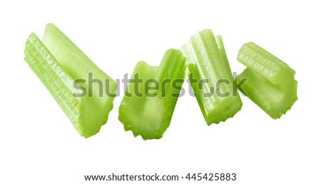 chopped celery isolated - stock photo